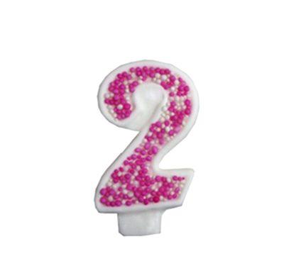 מספר 2 ורוד גדול - קישוט לעוגה