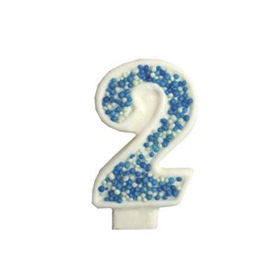 מספר 2 כחול גדול - קישוט לעוגה