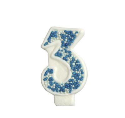 מספר 3 כחול גדול - קישוט לעוגה