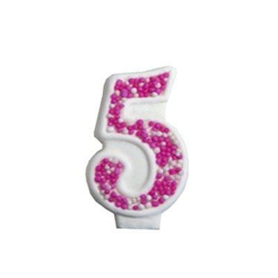 מספר 5 ורוד גדול - קישוט לעוגה