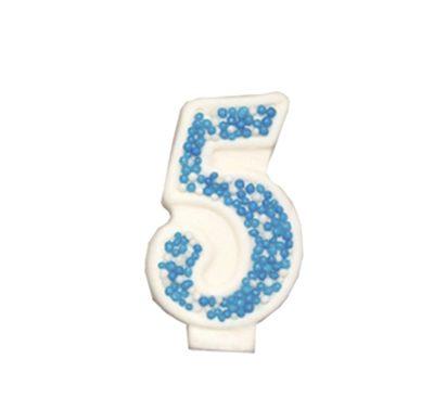 מספר 5 כחול גדול - קישוט לעוגה