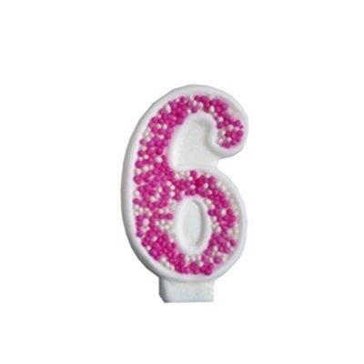 מספר 6 ורוד גדול - קישוט לעוגה