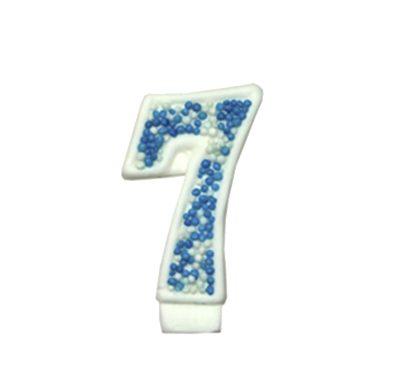 מספר 7 כחול גדול - קישוט לעוגה