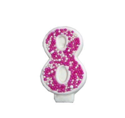 מספר 8 ורוד גדול - קישוט לעוגה