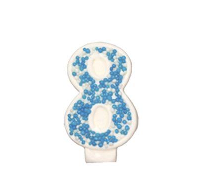מספר 8 כחול גדול - קישוט לעוגה