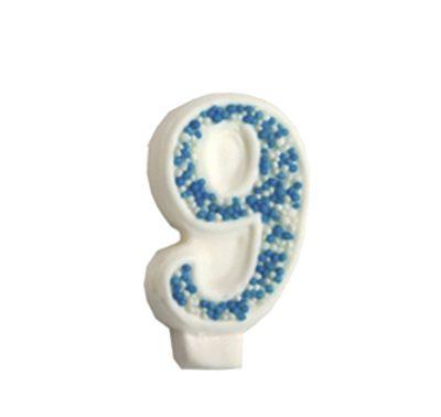 מספר 9 כחול גדול - קישוט לעוגה