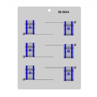תבנית 6 דגלי ישראל על מקל