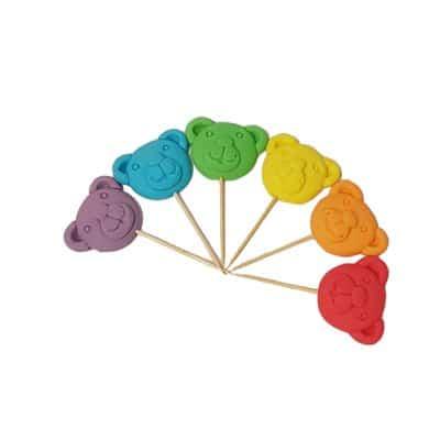 דובי צבעוני על קיסם - קישוט לעוגה