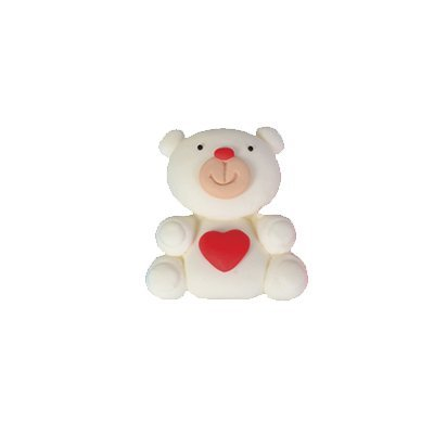 דובי לבן-לב תכלת/ורוד - קישוט לעוגה