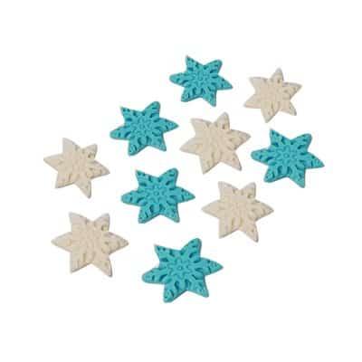 פתיתי שלג כחול לבן - קישוט לעוגה