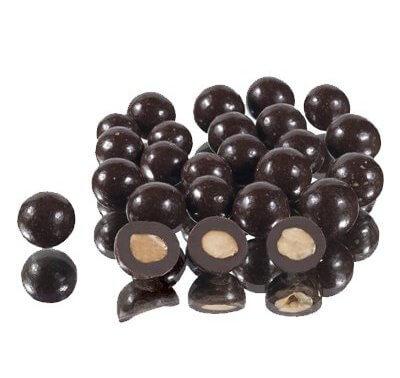 אגוזי לוז בשוקולד מריר 200 גרם