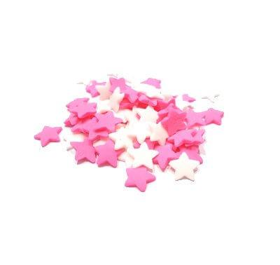 סוכריות - כוכבים ורודים לבנים