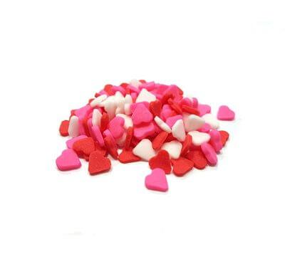 סוכריות - לבבות אדום-לבן-ורוד