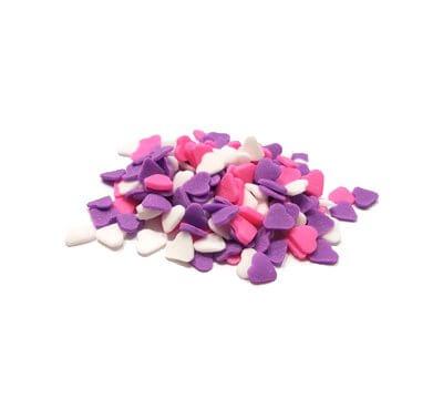 סוכריות - לבבות סגול-לבן-ורוד