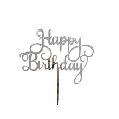 טופר לעוגות - happy birthday - כסף