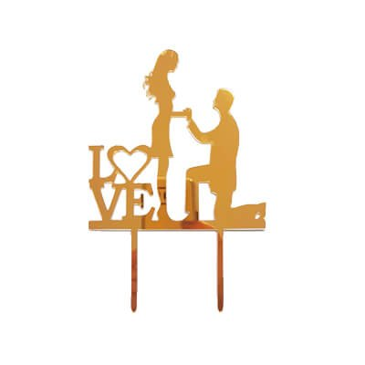 טופר לעוגות LOVE - זהב